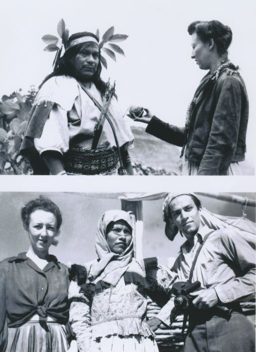 Henrietta Yurchenco with Augustin Maya and Mexican Indians 1944